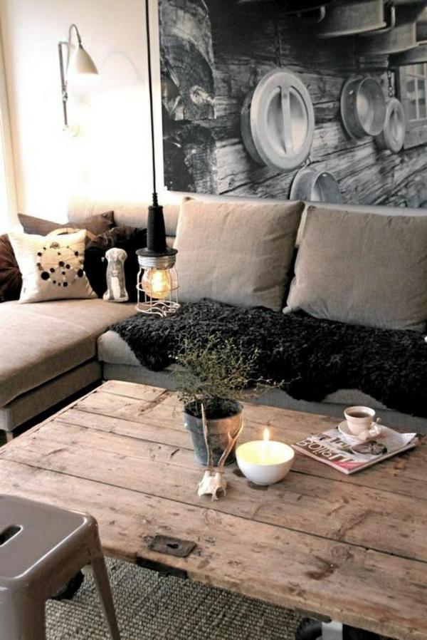 wohnzimmer einrichten - graue wandgestaltung