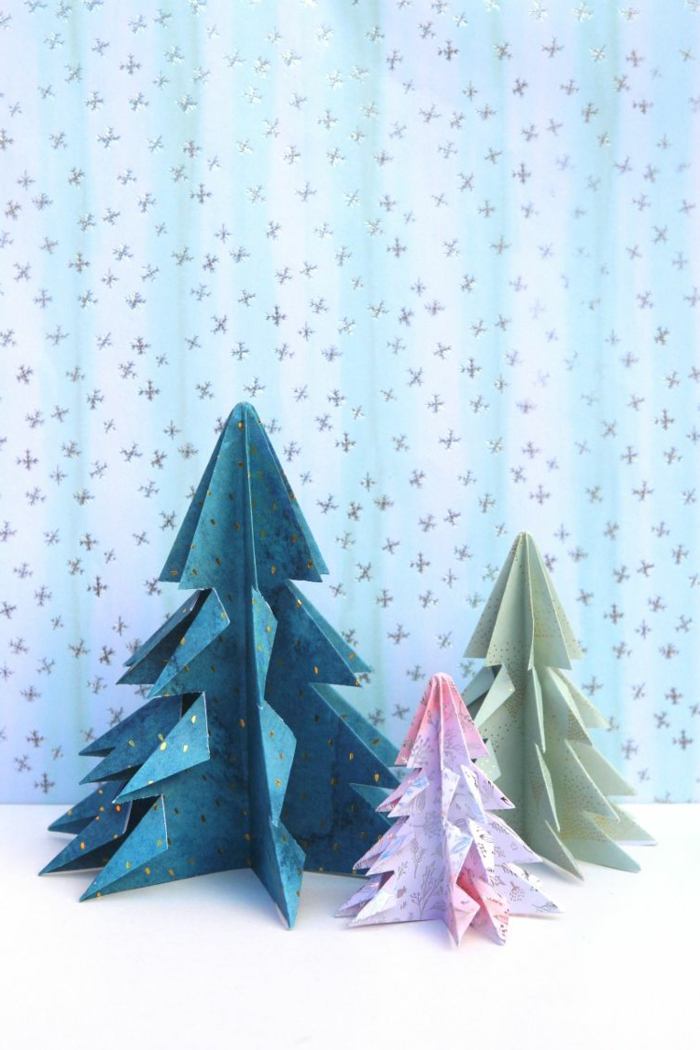 fenster weihnachtsdeko papier selber machen origami weihnachtsfiguren bsteln diy
