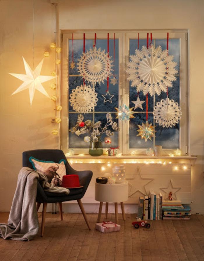 fensterbank weihnachtsdeko basteln weihnachtsfiguren makramee selber machen leuchtende sterne schneeflocken