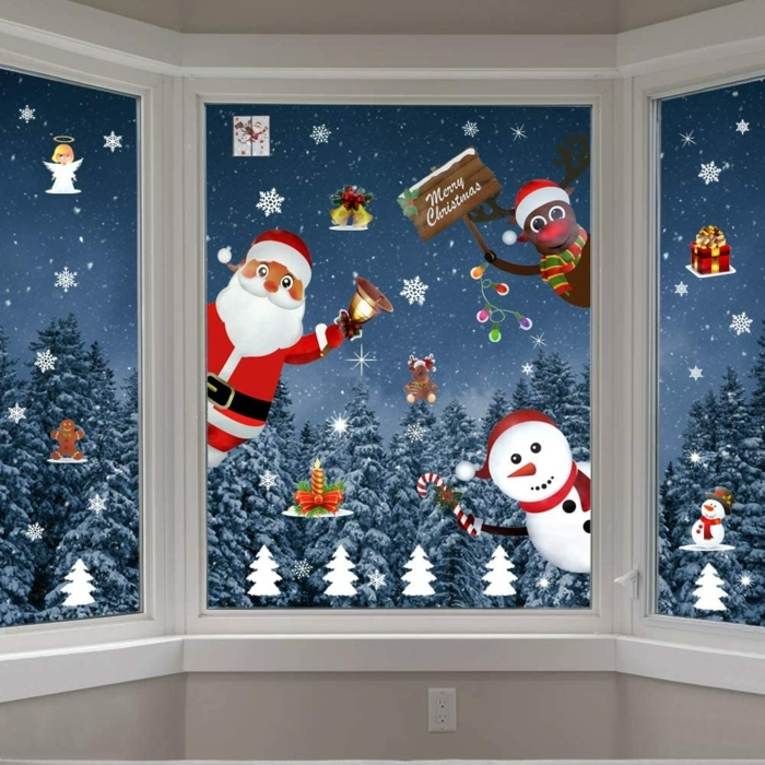 fensterbilder weihnachten basteln auf dem fenster zeichnen schneemann santa klaus hirsch malen