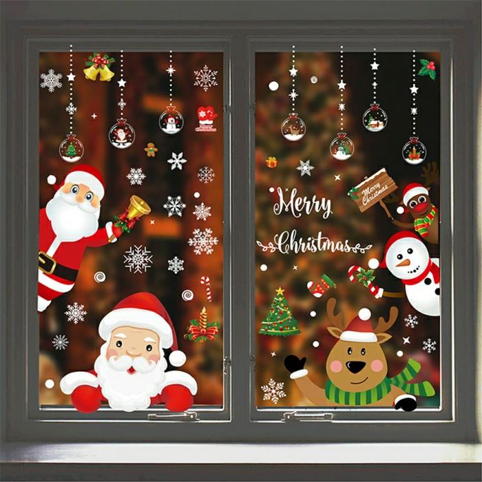fensterbilder weihnachtsdeko basteln figuren schneemann santa klaus hirsche schneeflocken zeichnen resized