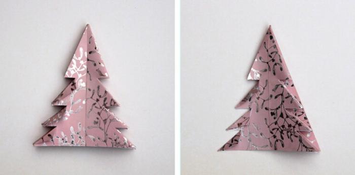fensterdeko weihnachten papier basteln rosa papier weihnachtsbaum selber machen