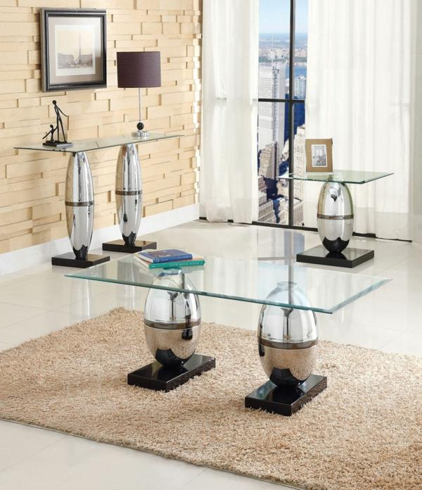 gläserner-retro-couchtisch - drei modelle