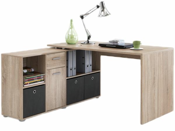 hölzerner-moderner-eleganter-Schreibtisch-mit-Lampe