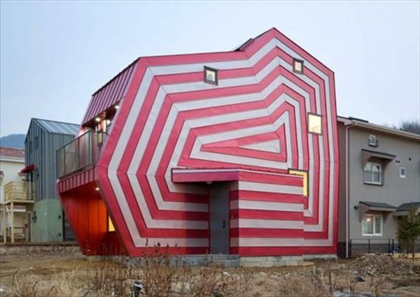 Hausfassade Farbe Rot Und Weiß
