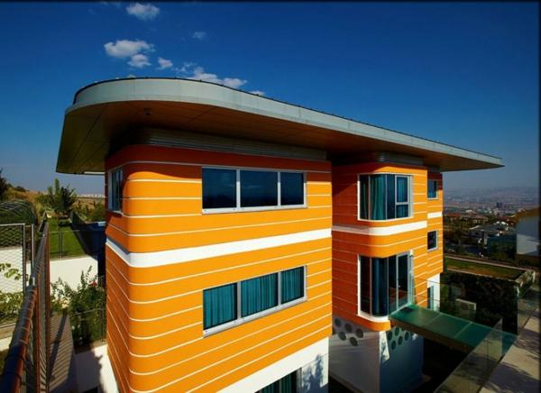 Fassadengestaltung einfamilienhaus grau orange  Fassadengestaltung Einfamilienhaus Grau Orange | Haus Deko Ideen