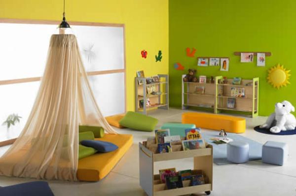 Kinderzimmer Gelb Grun babyzimmer komplett gestalten 25 kreative und bunte ideen Wandgestaltung Grn Gelb Kindergarten Interieur Grne Und Gelbe Wand Bett Mit Gardinen