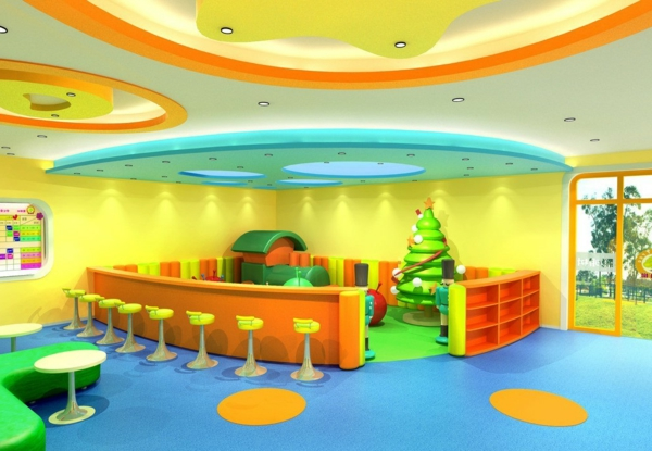 kindergarten-interieur-ultramoderne-rezeption-in-grün-orange-und-gelb