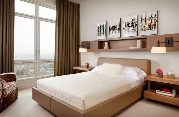 kleines-schlafzimmer-einrichten-eine-gläserne-wand-und-schöne-gardinen
