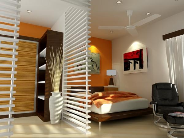 kleines-schlafzimmer-einrichten-eine-weiße-moderne-trennwand