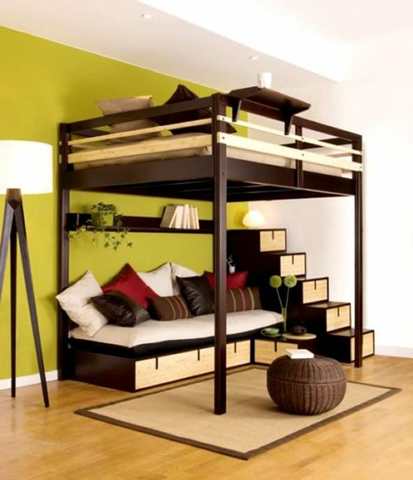 kleines-schlafzimmer-einrichten-hochbett-und-ein-bett-darunter