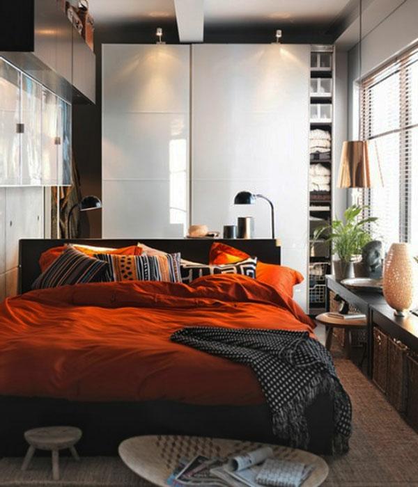 kleines-schlafzimmer-einrichten-orange-bettwäsche