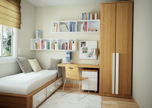 kleines-schlafzimmer-einrichten-weiße-regale