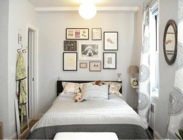 kleines-schlafzimmer-einrichten-weiße-wände-und-bilder