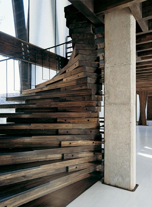 originelle Architektur Treppen aus Holz
