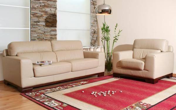 wohnzimmer einrichten - roter teppich
