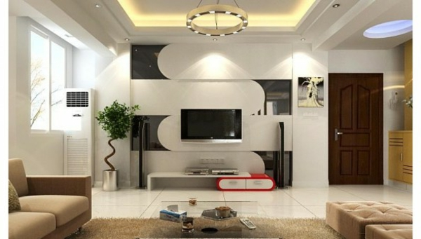 wohnzimmer einrichten - weiße wandgestaltung und led beleuchtung