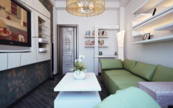 wohnzimmer einrichten - sofa in grüner farbe