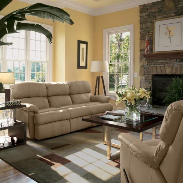 wohnzimmer einrichten - beige sofa