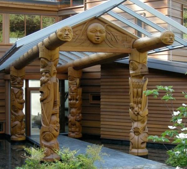 luxuriöses-Design-moderne-Architektur-Überdachung-Holz