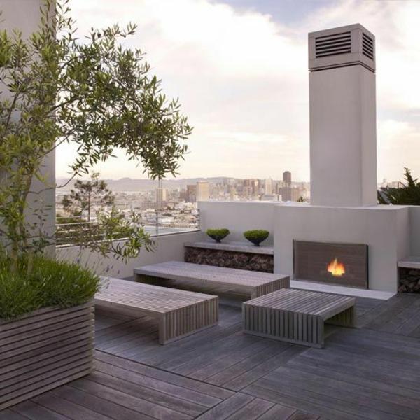 Terrassengestaltung Mit Feuerplatz  Modernes Design