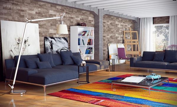 Wohnzimmer und Kamin moderne bilder fürs wohnzimmer : Coole Wandgestaltung fürs Wohnzimmer - Archzine.net