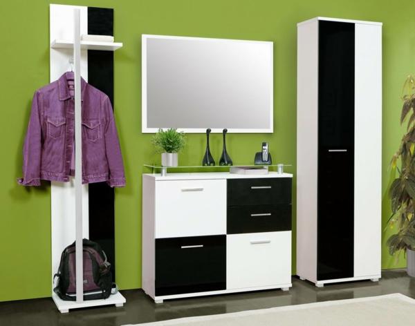 Dielenmöbel moderne-Wohnideen-für-das-Interior-Design-Flurmöbel-in-Weiß-und-Schwarz