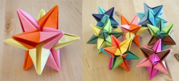 origami-zu-weihnachten-bunte-schöne-farben - zwei schöne bilder