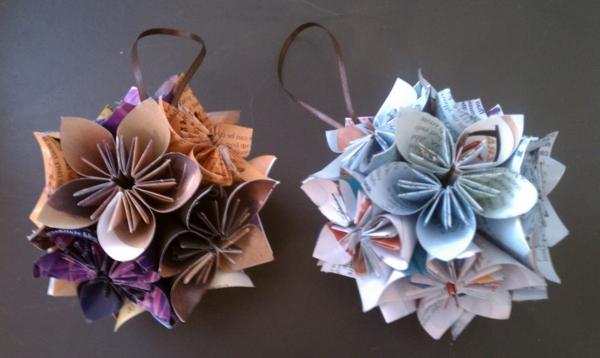 origami-zu-weihnachten-dekoartikel-für-den-tannenbaum - grauer hintergrund