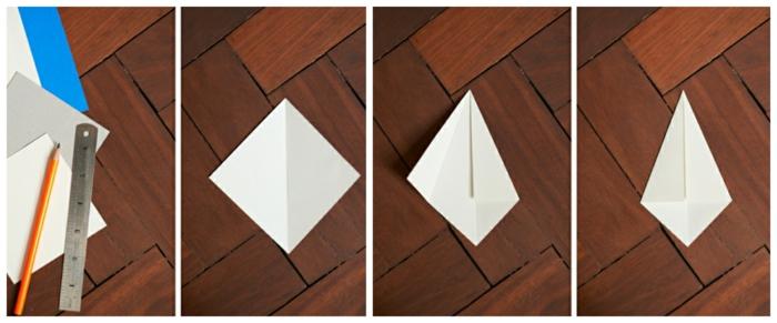 origami zu weihnachten selber machen origami diamanten anleitung basteln schritte eins zwei