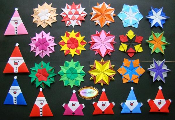 origami-zu-weihnachten-verschiedene-modelle - schönes bild von oben genommen