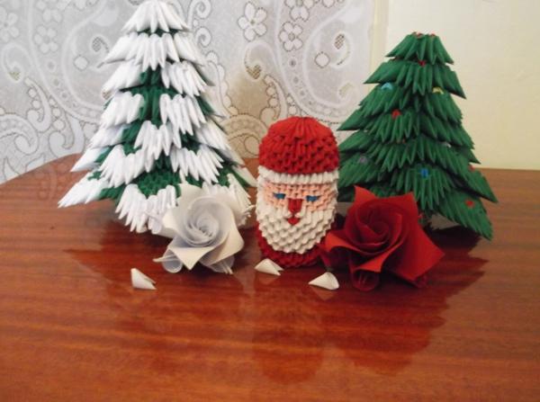origami-zu-weihnachten-weihnachtsmann-und-tannenbäume