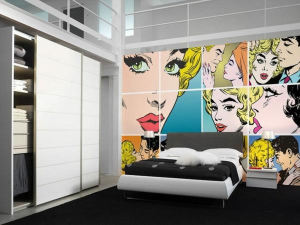 wohnzimmer mit weien hochglanz mbeln retro tapeten 26 inspirierende ideen - Tapeten Fur Wohnzimmer Mit Weisen Hochglanz Mobeln