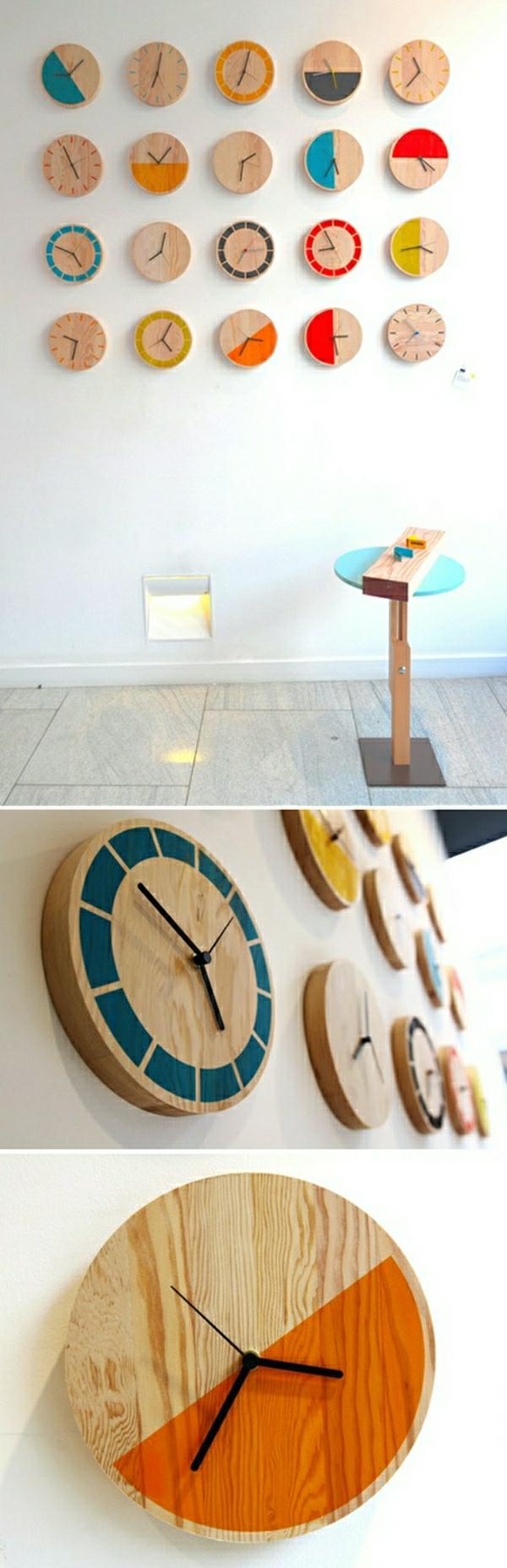 runde-Holzuhr-effektvolles-Design