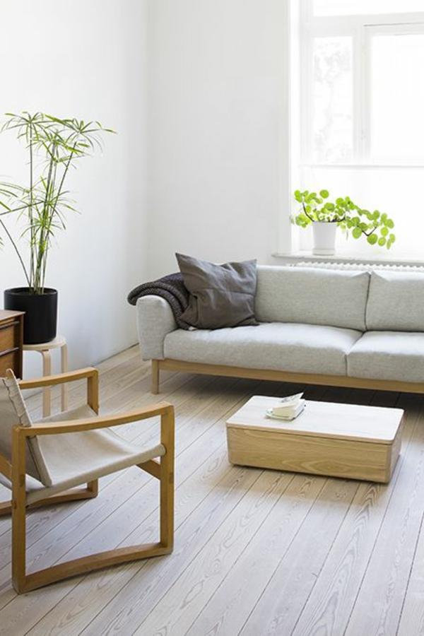 wohnzimmer ideen parkett:schöne-Ideen-für-das-Interior-mit-Parkett-in-heller-Nuance