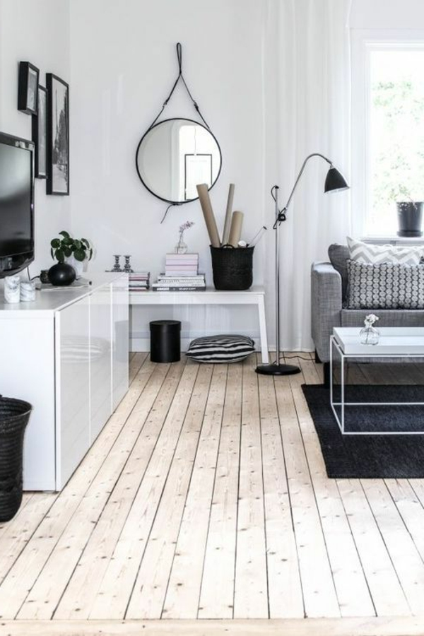 wohnzimmer ideen parkett:schöne-Ideen-für-das-Interior-mit-Parkett
