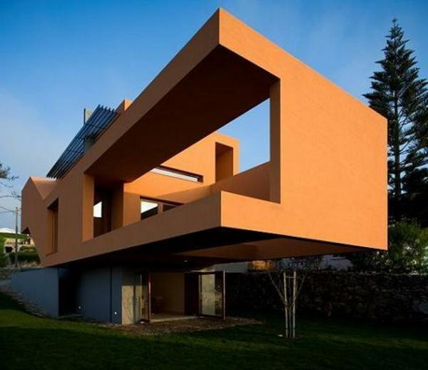 Fassadengestaltung einfamilienhaus grau orange  Modernes Haus Fassade Braun | badezimmer & Wohnzimmer