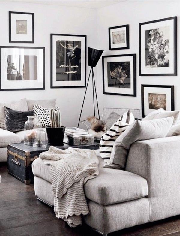 Wohnzimmer ideen schwarz weis
