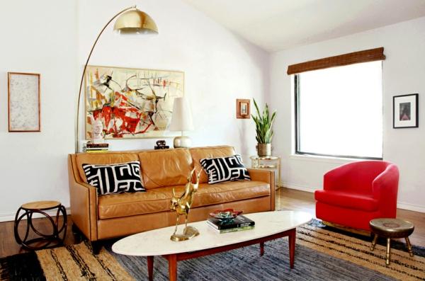 wohnzimmer einrichten - ovalförmiger tisch