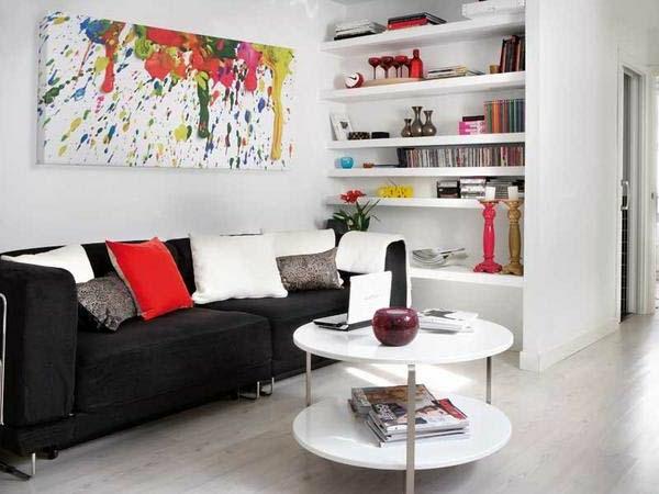wohnzimmer einrichten- sofa in schwarzer farbe