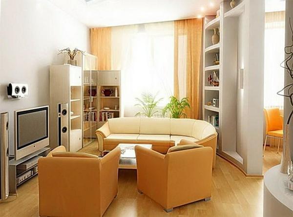 wohnzimmer einrichten - fernseher neben dem sofa