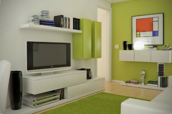 wohnzimmer einrichten - weiße und grüne farbe