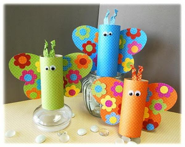 bastelideen für kindergarten - schmetterlinge in bunten farben