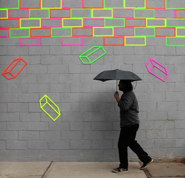 straßenart-idee-mit-fluoreszierender-farbe-grün-rosa-gelb