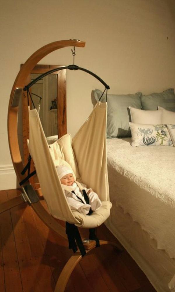 super-coole-baby-hängematte in einem modernen und gemütlichen schlafzimmer