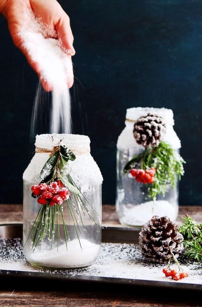 tischdeko zu weihnachten selber machen, diy teelichthalter, einmachgläser dekorieren, kunstschnee