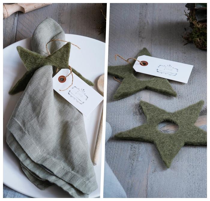 weihanchtsdeko basteln für den tisch, graue serviette, serviettenring stern aus grünem filzstoff
