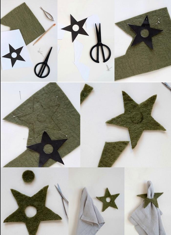 weihnachtsdeko basteln für den tisch, servietten dekoreiren, stern aus filz, freie vorlage