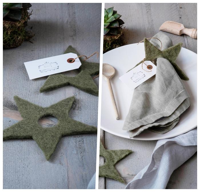 weihanchtsdeko basteln für den tisch, sterne aus grünem filzstoff, graue serviette, tischdeko