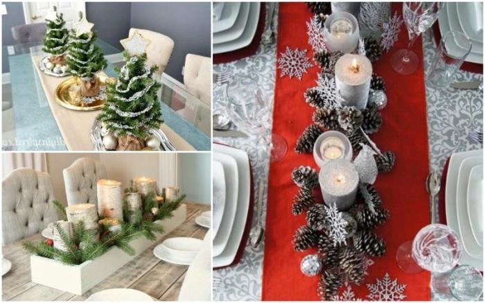 weihnachtliche tischdeko, silberne kerzen, roter tischläufer, kleine tannenbäume, tannenzapfen